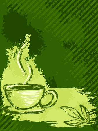 brew: Grunge style background with a cup of tea and tea leaves.