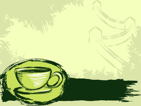 Grungy chinese tea banner with the Great Wall in the background. Illustration