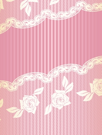 csipkék: Sexy pink and gold background with a French lace design. Graphics are grouped and in several layers for easy editing. The file can be scaled to any size. Illusztráció