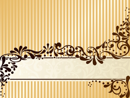 Elegant horizontal banner design inspired by Victorian era designs. Graphics are grouped and in several layers for easy editing. The file can be scaled to any size.