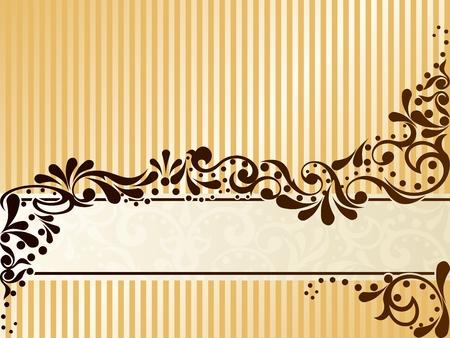 Elegante diseño de banner horizontal, inspirado en los dibujos era victoriana. Los gráficos son agrupados y en varias capas para editar fácilmente. El archivo se puede escalar a cualquier tamaño. Foto de archivo - 5602189