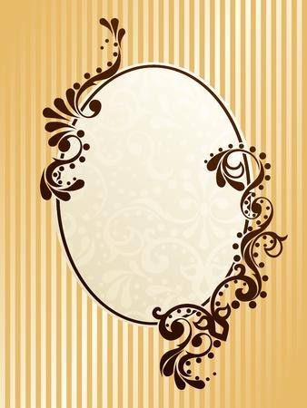 Elegante diseño de marco ovalado inspirado en diseños de la época victoriana. Los gráficos son agrupados y en varias capas para editar fácilmente. El archivo se puede escalar a cualquier tamaño. Ilustración de vector