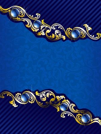 saffier: Elegant achtergrond met goud filigraan en embedded juwelen. Graphics zijn gegroepeerd en in meerdere lagen voor eenvoudige bewerking. Het bestand kan worden geschaald naar elke grootte.