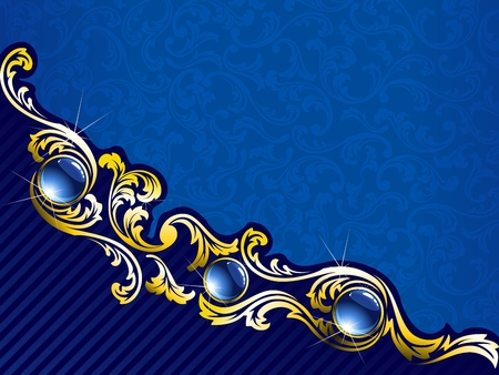 Elegant background with gold filigree and embedded jewels. Graphics are grouped and in several layers for easy editing. The file can be scaled to any size. Ilustração
