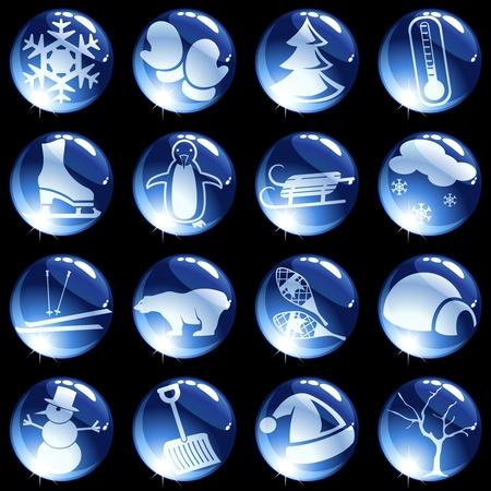 16 donker blauw glas knoppen met een winters thema. Graphics zijn gegroepeerd en in meerdere lagen voor eenvoudige bewerking. Het bestand kan worden geschaald naar elke grootte. Vector Illustratie