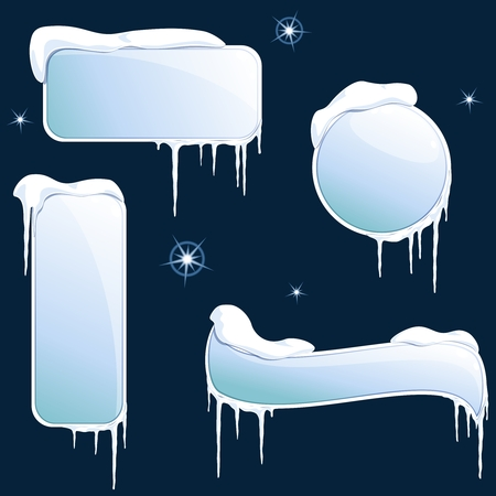 Collection of wintry design elements. Graphics are grouped and in several layers for easy editing. The file can be scaled to any size