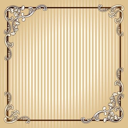 hoekversiering: Elegant sepiatint frame geïnspireerd door Victoriaanse tijdperk ontwerpen. Graphics zijn gegroepeerd en in meerdere lagen voor eenvoudige bewerking. Het bestand kan worden geschaald naar elke grootte. Stock Illustratie