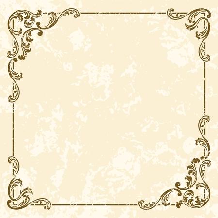 Frame tono Grungy seppia ispirato da disegni dell'epoca vittoriana. Grafici sono raggruppati in diversi livelli per facilitare il montaggio. Il file può essere scalata a qualsiasi dimensione. Archivio Fotografico - 5690861