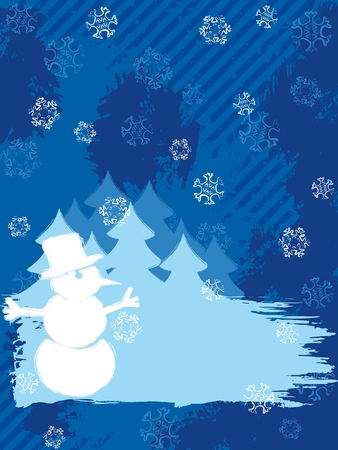 Vertical grunge style winter background with a snowman. Graphics are grouped and in several layers for easy editing. The file can be scaled to any size. Vector