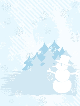 Vertical grunge style winter background with a snowman. Graphics are grouped and in several layers for easy editing. The file can be scaled to any size.