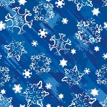 Seamless grungy background with snowflakes. Tiles can be combined seamlessly. Graphics are grouped and in several layers for easy editing. The file can be scaled to any size. Vector