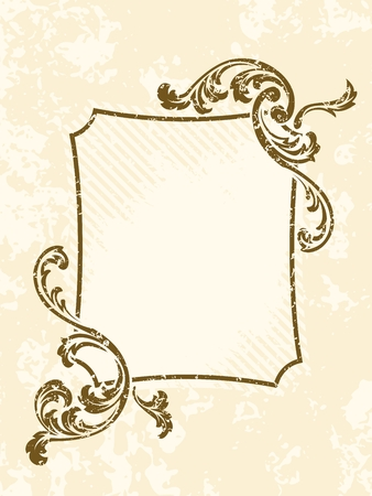 grouped: Grungy rectangular sepia tone frame inspired by Victorian era designs. Graphics are grouped and in several layers for easy editing. The file can be scaled to any size.