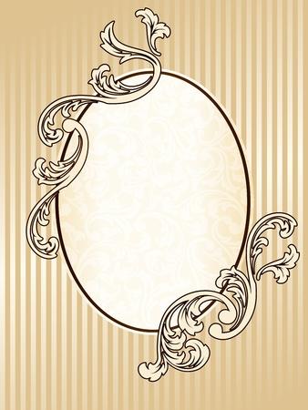 Marco elegante tono sepia oval inspirado por los diseños de la época victoriana. Se agrupan los gráficos y en varias capas para facilitar su edición. El archivo se puede escalar a cualquier tamaño.  Foto de archivo - 5769543