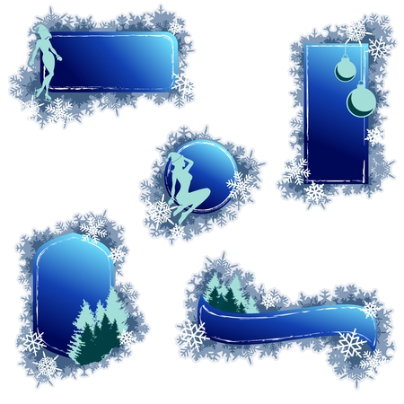 Set of 5 grungy winter banners. Graphics are grouped and in several layers for easy editing. The file can be scaled to any size. Vector