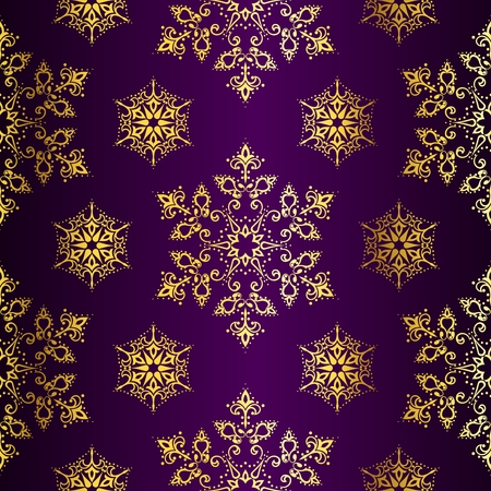 Purple seamless Christmas background with gold stars. Tiles can be combined seamlessly. Graphics are grouped and in several layers for easy editing. The file can be scaled to any size. Vector