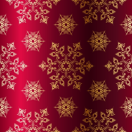 Red seamless Christmas background with gold stars. Tiles can be combined seamlessly. Graphics are grouped and in several layers for easy editing. The file can be scaled to any size. Ilustração