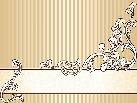 Elegant horizontal sepia tone banner inspired by Victorian era designs. Graphics are grouped and in several layers for easy editing. The file can be scaled to any size. Stock Vector - 5865561