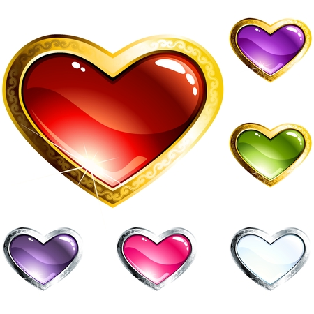 grouped: Brightly colored high-gloss buttons for valentines day, with a metallic rim. Graphics are grouped and in several layers for easy editing. The file can be scaled to any size. Illustration