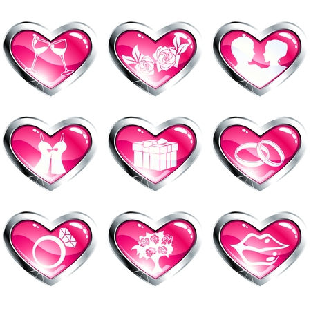 Nine pink and silver high-gloss icons with a metallic rim for valentines day. Graphics are grouped and in several layers for easy editing. The file can be scaled to any size. Vector