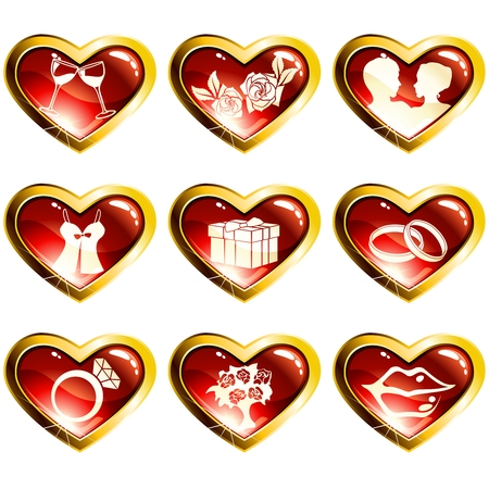 Nine red and gold high-gloss icons with a metallic rim for valentines day. Graphics are grouped and in several layers for easy editing. The file can be scaled to any size.