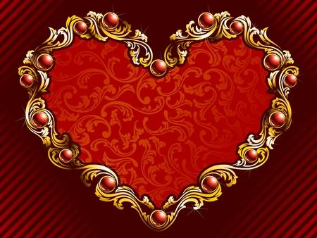 埋め込まれた宝石および金の線条細工のエレガントなバレンタインデーの背景。グラフィックをグループ化および簡単な編集のためのいくつかの層  イラスト・ベクター素材