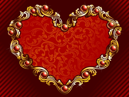 Elegant valentines day background with gold filigree and embedded jewels. Graphics are grouped and in several layers for easy editing. The file can be scaled to any size. Vector