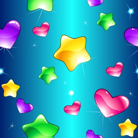 A brightly colored seamless pattern with glossy stars and hearts, perfect for designs for children. Tiles can be combined seamlessly. Graphics are grouped and in several layers for easy editing. The file can be scaled to any size.