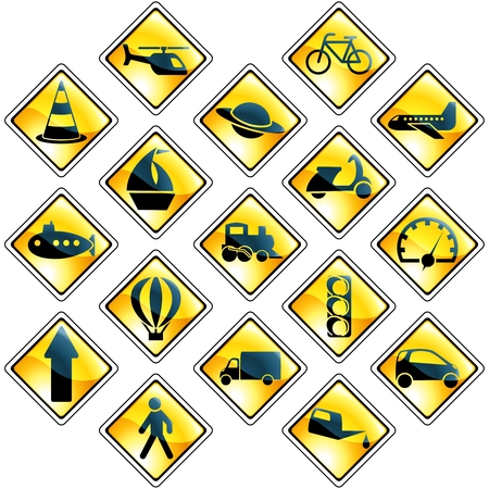 Collection of high-gloss traffic and transportation icons. Graphics are grouped and in several layers for easy editing. The file can be scaled to any size. Vector