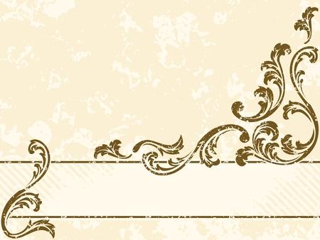 水平汚れたセピア色のトーンのバナーがビクトリア朝時代のデザインに触発さ。グラフィックをグループ化および簡単な編集のためのいくつかの層  イラスト・ベクター素材