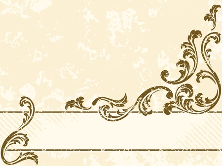 filigree: Horizontal grungy sepia tone banner inspired by Victorian era designs. Graphics are grouped and in several layers for easy editing. The file can be scaled to any size. Illustration