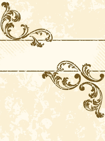 baroque border: Vertical grungy sepia tone banner inspired by Victorian era designs. Graphics are grouped and in several layers for easy editing. The file can be scaled to any size. Illustration