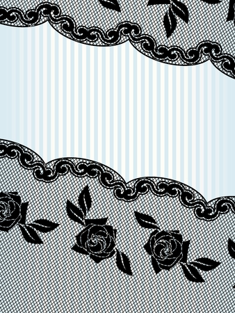 Diagonal sexy background with a black French lace design. Graphics are grouped and in several layers for easy editing. The file can be scaled to any size.