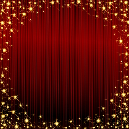 Glossy dark red background with a golden sparkly frame. Graphics are grouped and in several layers for easy editing. The file can be scaled to any size.
