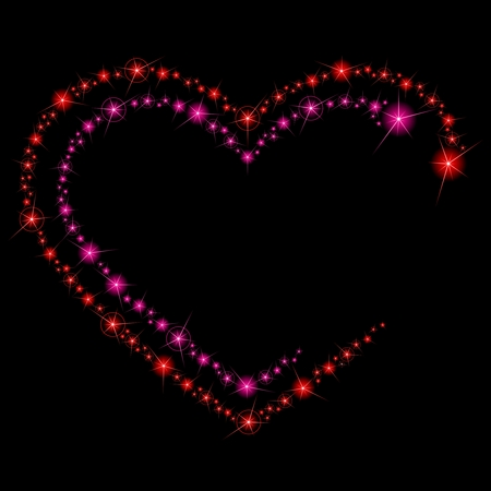 Background with two heart-shaped lines of glittering lights. Graphics are grouped and in several layers for easy editing. The file can be scaled to any size. Stock Vector - 6039331