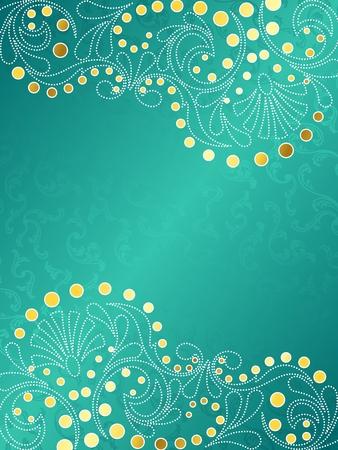 papel tapiz turquesa: Fondo de vector con estilo vertical con una filigrana de oro y blanca. Se agrupan los gr�ficos y en varias capas para facilitar la edici�n. El archivo se puede escalar a cualquier tama�o.