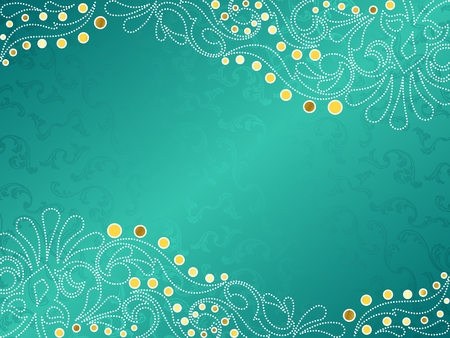 turquesa color: Fondo de vector con estilo horizontal con una filigrana de oro y blanca. Se agrupan los gr�ficos y en varias capas para facilitar la edici�n. El archivo se puede escalar a cualquier tama�o.