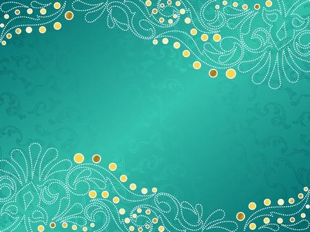 aquamarin: Horizontale stilvollen Vektor Hintergrund mit einem wei�en und gold filigrane. Grafiken werden gruppiert und in mehreren Ebenen f�r einfache Bearbeitung. Die Datei kann auf jede beliebige Gr��e skaliert werden.