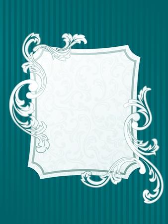 エレガントな長方形フレームの設計フランスのロココ スタイルに触発さ。グラフィックをグループ化および簡単な編集のためのいくつかの層。ファ  イラスト・ベクター素材