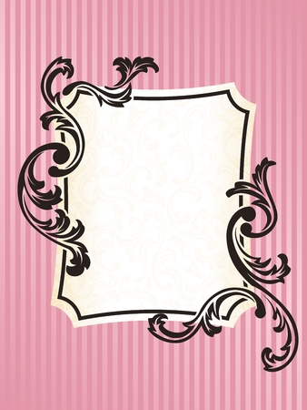 Elegant rectangular Frame design inspired by French rococo style. Graphics are grouped and in several layers for easy editing. The file can be scaled to any size. Vector