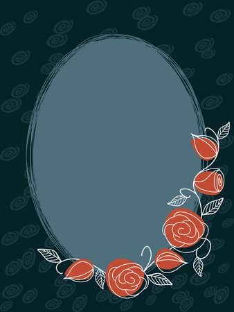 muted: Hand drawn oval frame with a muted color scheme. Graphics are grouped and in several layers for easy editing. The file can be scaled to any size.