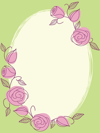Hand drawn oval frame with a fresh springtime color scheme. Graphics are grouped and in several layers for easy editing. The file can be scaled to any size. Illustration