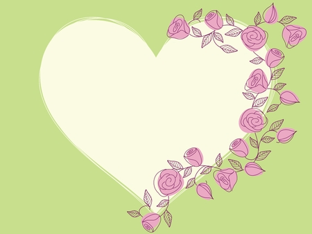 Hand drawn heart-shaped frame with a fresh springtime color scheme. Graphics are grouped and in several layers for easy editing. The file can be scaled to any size. Ilustracja