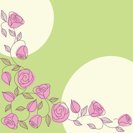 Achtergrond met hand getekende rozen in een frisse lente kleuren schema. Graphics zijn gegroepeerd en in meerdere lagen voor eenvoudige bewerking. Het bestand kan worden geschaald naar elke grootte.