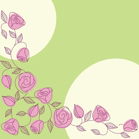 Background with hand drawn roses in a fresh springtime color scheme. Graphics are grouped and in several layers for easy editing. The file can be scaled to any size. Vector