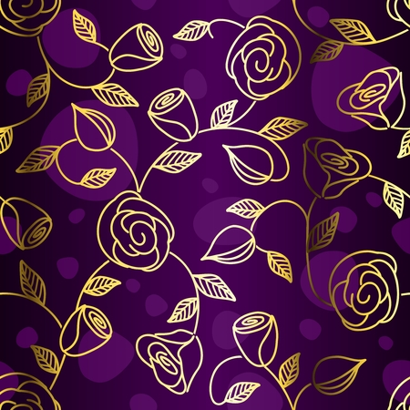 Hand drawn seamless design with golden roses. Tiles can be combined seamlessly. Graphics are grouped and in several layers for easy editing. The file can be scaled to any size. Ilustracja