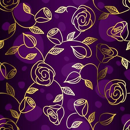 Hand getrokken een naadloos ontwerp met gouden rozen. Tegels kunnen naadloos worden gecombineerd. Graphics zijn gegroepeerd en in meerdere lagen voor eenvoudige bewerking. Het bestand kan op een ander formaat worden aangepast.  Stock Illustratie