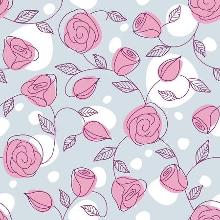 Hand drawn pattern with a muted, light color scheme. Tiles can be combined seamlessly. Graphics are grouped and in several layers for easy editing. The file can be scaled to any size. Vettoriali
