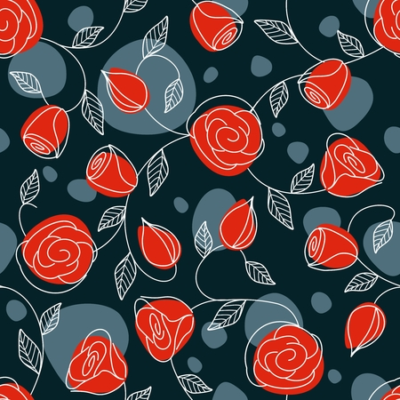 Hand drawn pattern with a bold, dark color scheme. Tiles can be combined seamlessly. Graphics are grouped and in several layers for easy editing. The file can be scaled to any size.