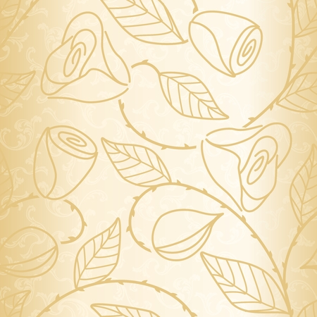 Gold hand drawn wedding pattern. Tiles can be combined seamlessly.