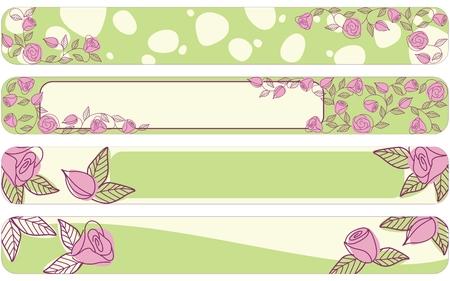 Hand drawn banners met een verse lente kleuren schema, volledige Banner formaat.  Stock Illustratie